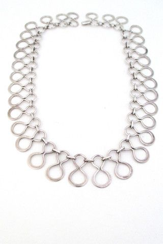 Just Andersen Denmark vintage Scandinavian Modernist silver necklace