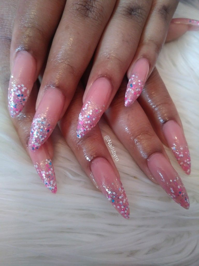 Long Acrylic Stiletto Nails With Glitter Tips Glitter Tip Nails
