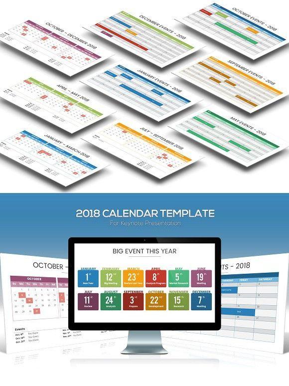 2018 Calendar Keynote Template Keynote Presentation Templates And
