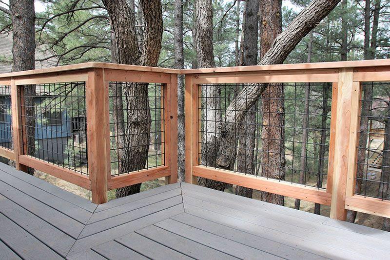 Wild Hog Brand Welded Wire Metal Railing Installed Around A Deck In Flagstaff Arizona Wire Deck Railing Diy Deck Building A Deck