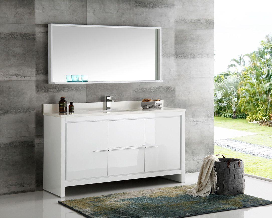 Fresca Allier 60 White Modern Single Sink Bathroom Vanity W