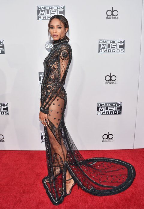 Ciara's sheer beaded gown at the AMAs red carpet is what fashion dreams are made of.