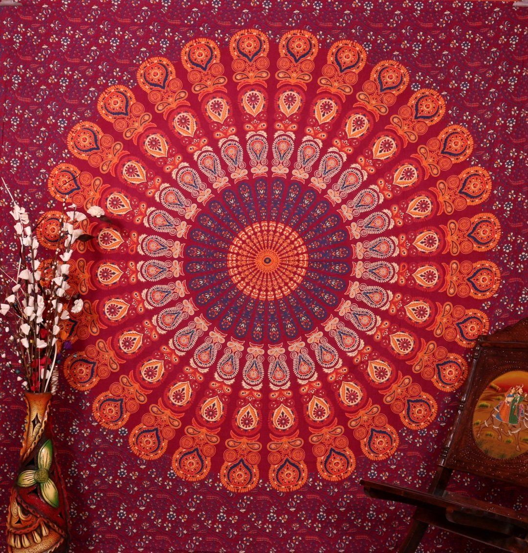 Bettwäsche Pfau Handicrunch Maroon Hippie Hippy Peacock Wall Hanging