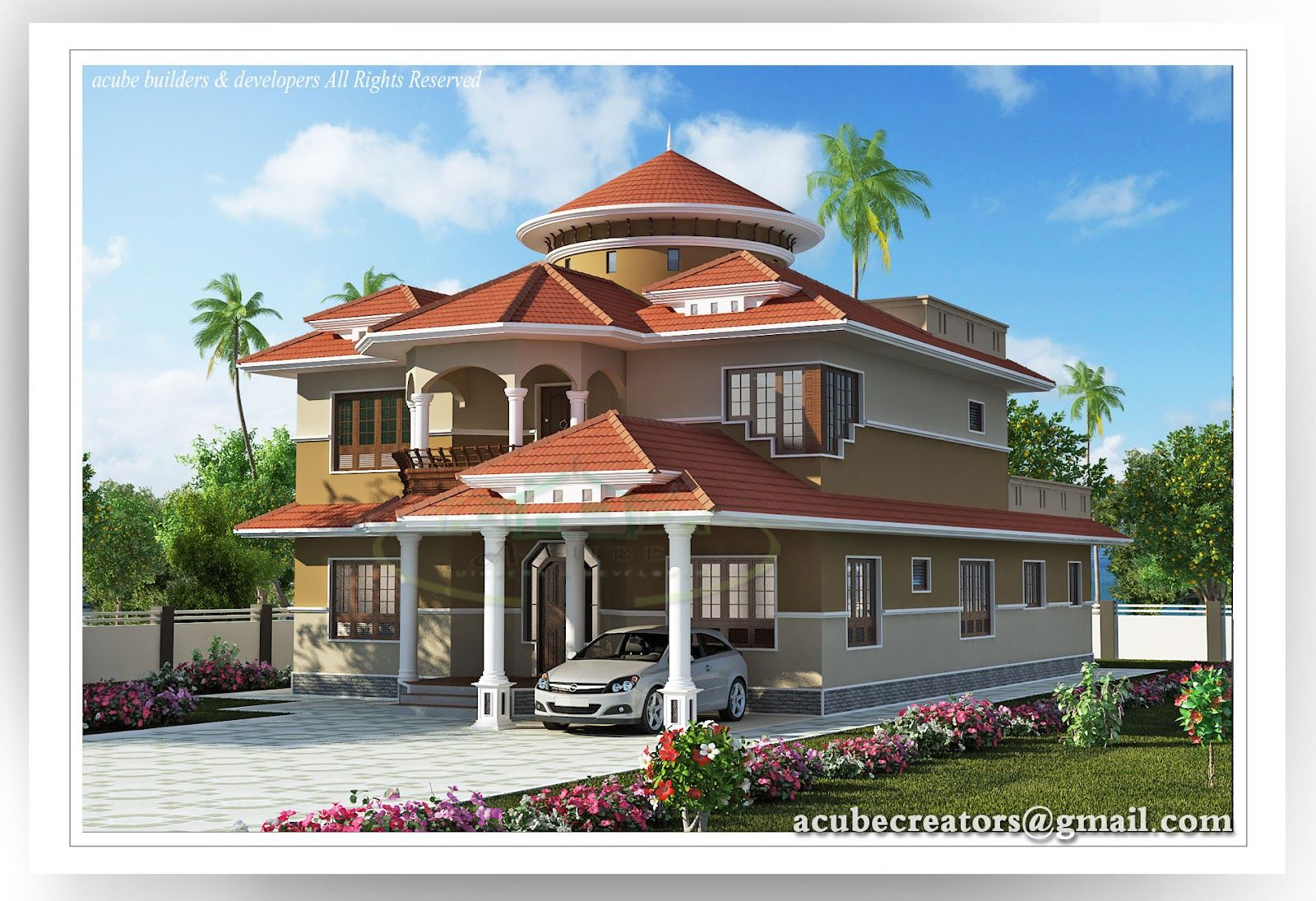 Indian home design creative exterior design attractive for Beautiful villa design