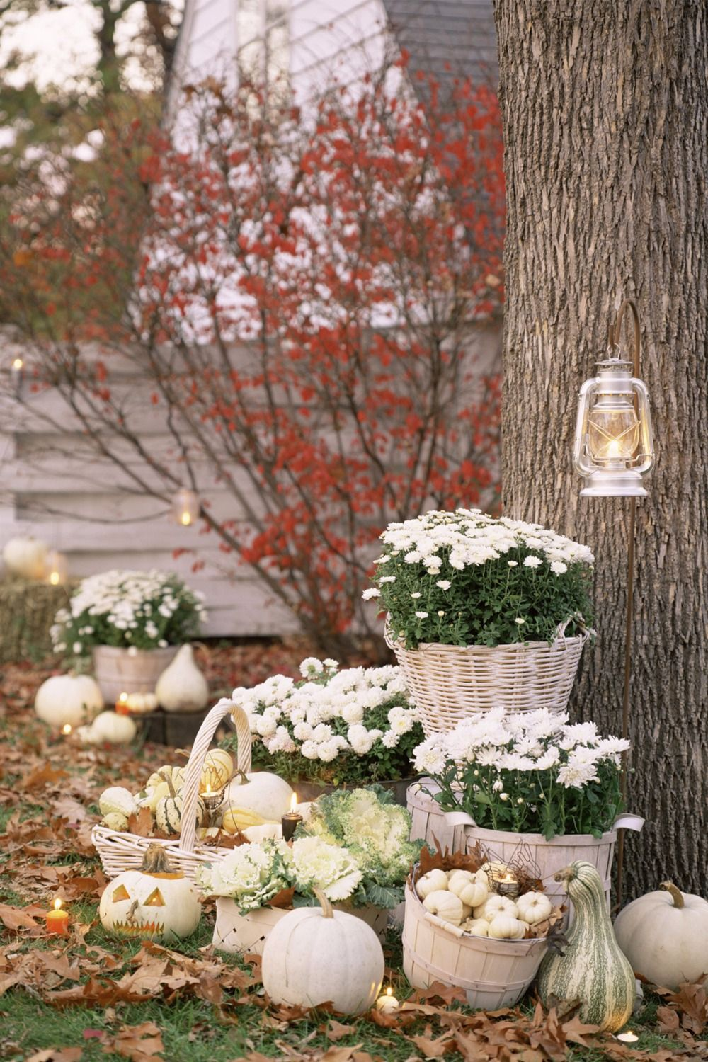 15 Fall Porch Decorating Ideas Fall Flowers White Pumpkin