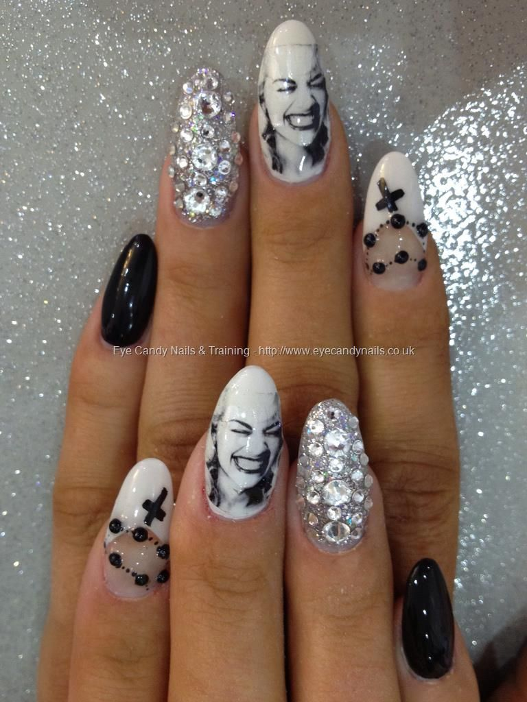 Black And White Free Hand Nail Art With Clients Own Lady Gaga Decals Swarovski Crystal Ring Finger