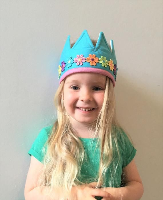 Children's Felt Crown, Birthday Crown, Girl's Flower Crown, Blue Felt Crown, Kid's Dressing Up Costu #feltcrown Children's Felt Crown, Birthday Crown, Girl's Flower Crown, Blue Felt Crown, Kid's Dressing Up Costu #feltcrown