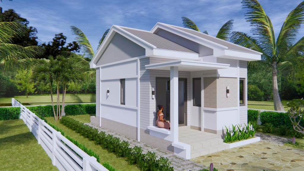Small House Plans 4 5x7 5 With One Bedroom Gable Roof In 2020 Small House Plans Small House Design Plans Bungalow House Design