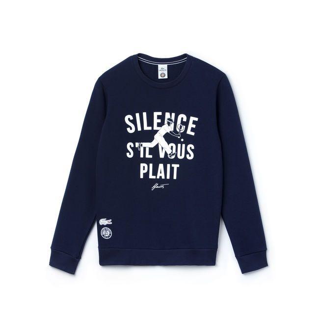"""Lacoste - Men's SPORT 'French Open Collection' """"SILENCE S'IL VOUS PLAIT"""" Crew Neck Sweatshirt"""
