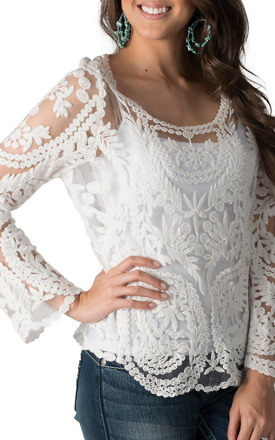 f5c1cc36528 Karlie Women s White Lace Long Sleeve Top