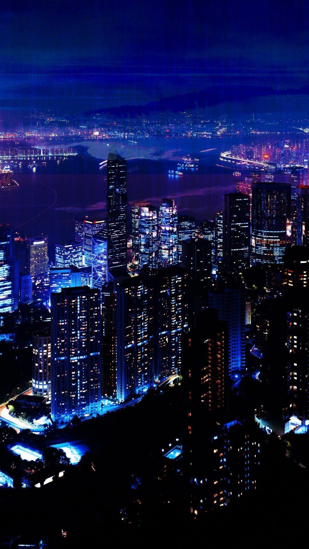 Night City Sky Skyscrapers Iphone 8 Wallpapers City Wallpaper City Lights Wallpaper City Sky