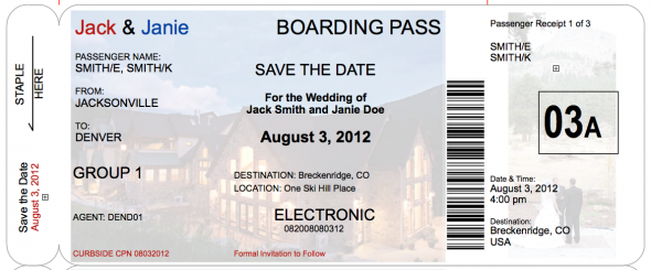 Boarding Pass Save the Date, a little more realistic