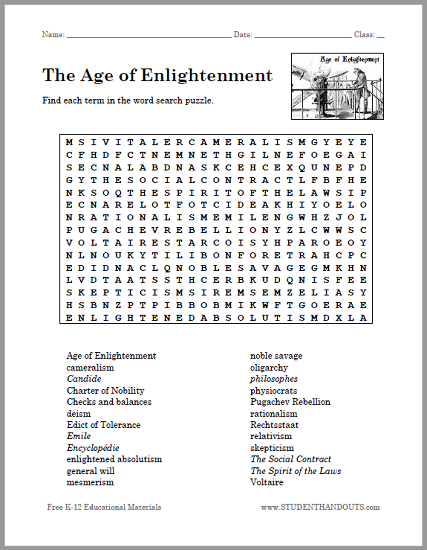 Age Of Enlightenment Word Search Puzzle Free To Print Social