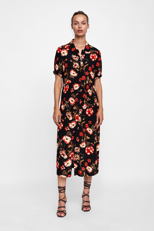 19ac0486 Image 1 of FLORAL PRINT DRESS from Zara | sartorial | Dresses ...