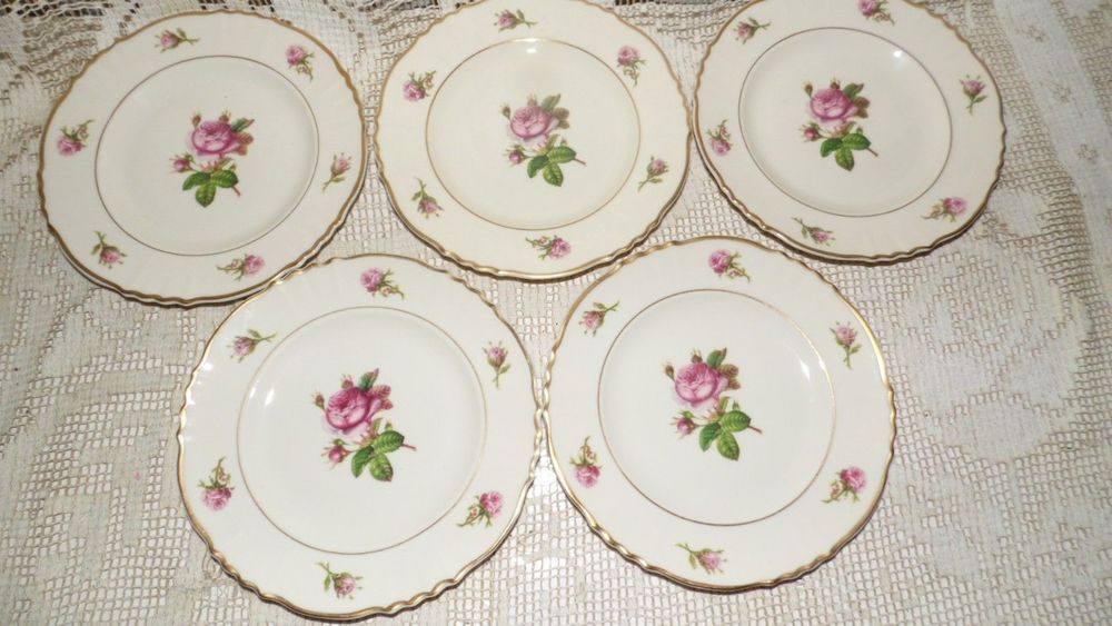 "SYRACUSE CHINA FEDERAL SHAPE 'VICTORIA"" ROSES 5 PC. DESERT PLATES SET #SyracuseChina"