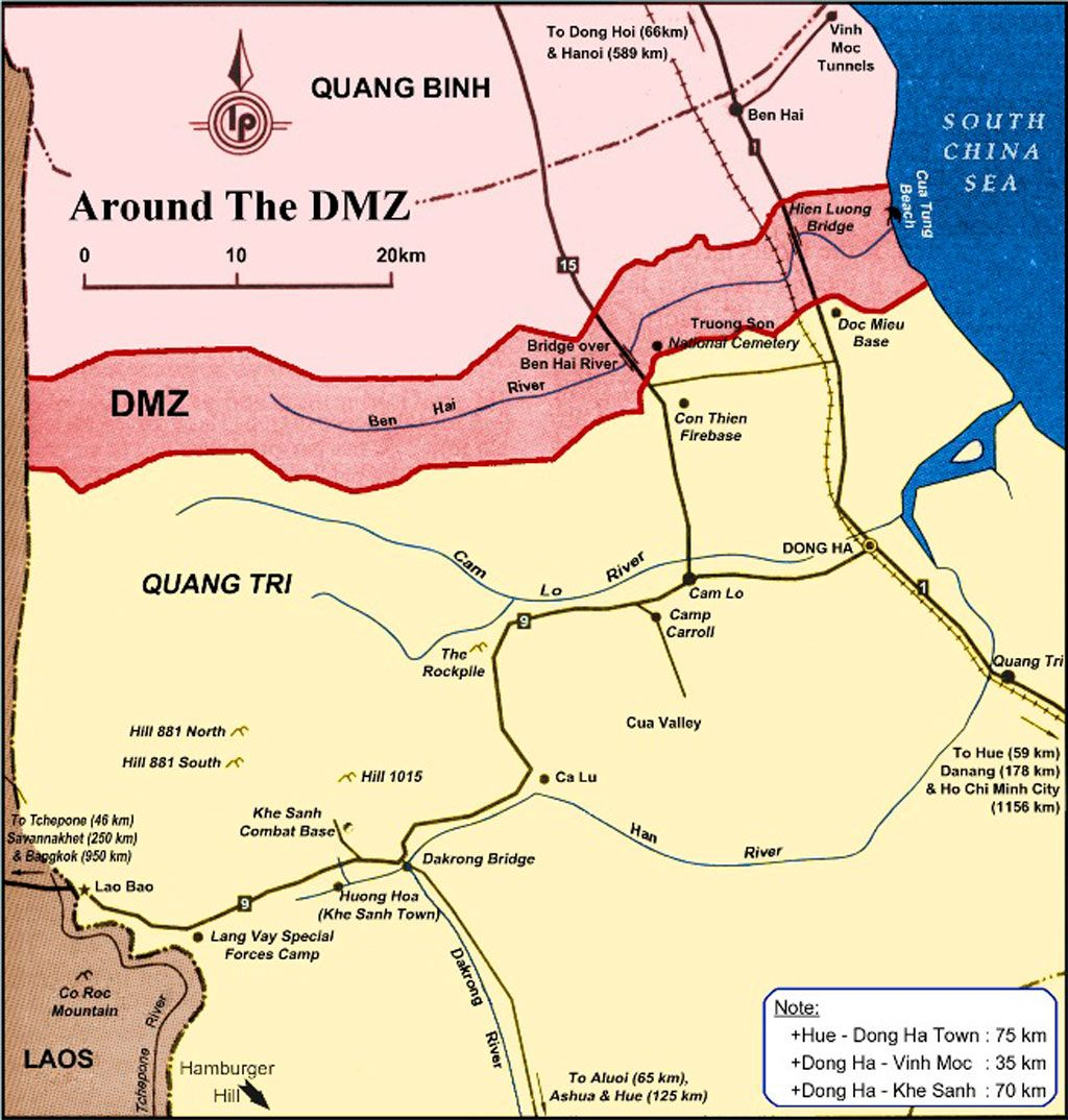 Vietnam War DMZ Map: A map of the former DMZ, which ... on map korea dmz 1967 1968, map of vietnamese demilitarized zone, map of dmz korea,