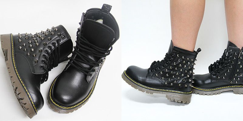 Lady, Combat boots and Studs on Pinterest