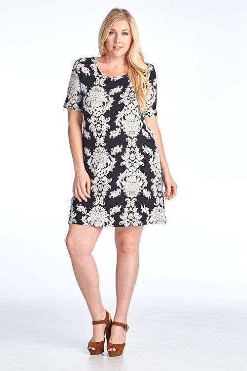 Plus Size Print Short Sleeve Open Back Dress
