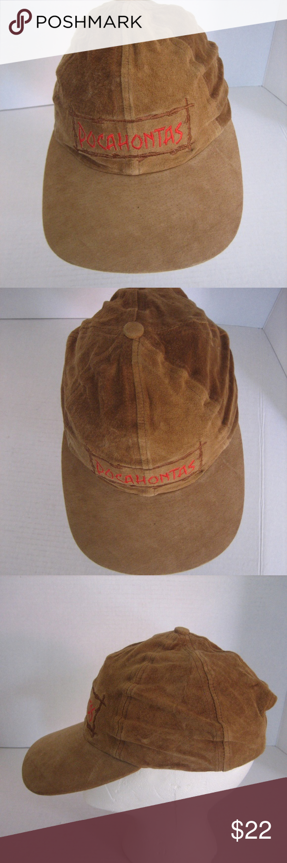 ff0769a1d1eb Disney Pocahontas Women s Tan Suede Baseball Hat Vintage Disney Pocahontas  Women s Tan Suede Baseball Hat Pre