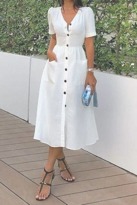 Commuting Commuting Pleated V Neck Short Sleeve Pure Colour Dress  dresses casualstyle fashionpretty casual dressescasual day dressesdress ideas casualfashionable dresses...