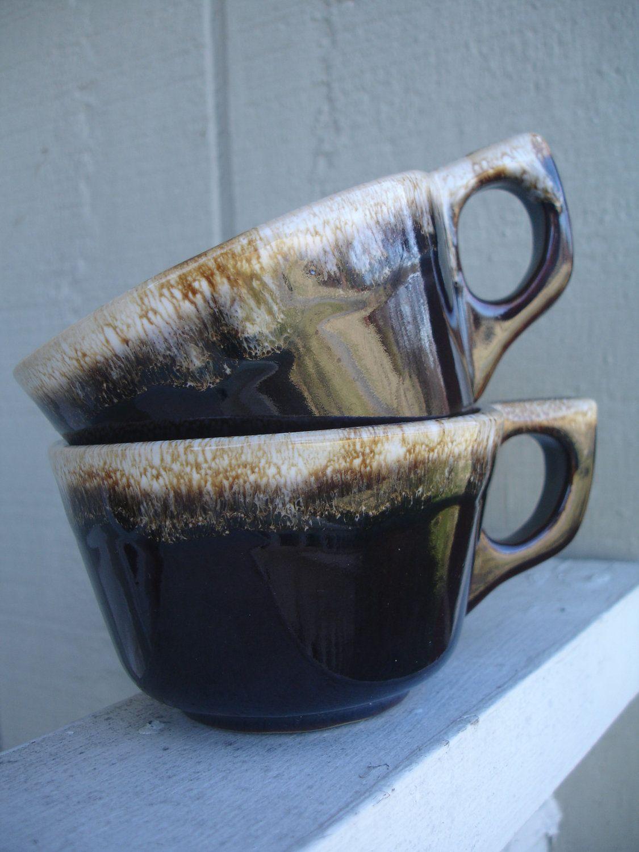 Favorites vintage brown drip mugs in deep espresso