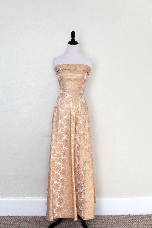 Vintage us gold cream evening gown formal dress floral