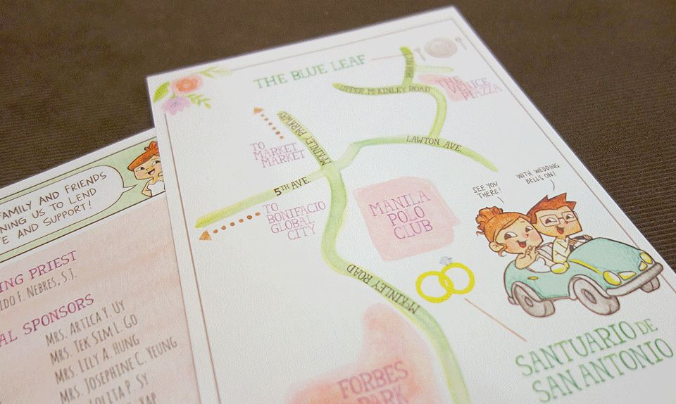 painted wedding invitations, diy party ideas, illustrated map, Wedding invitations