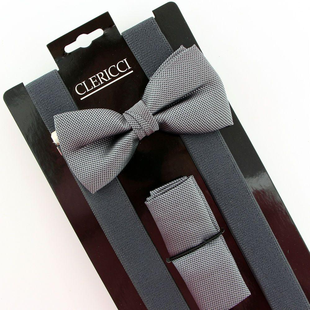 Grey weave mens bow tie suspenders hanky prom wedding