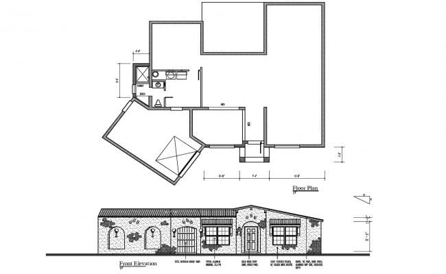 Floor Plan Of The House With Elevation In Dwg File Architectural Floor Plans Floor Plans Small House Floor Plans