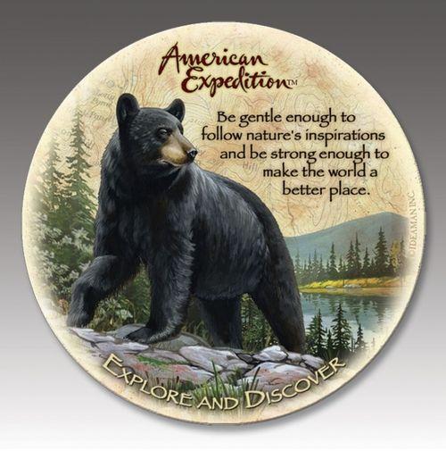 Black Bear Stone Coaster Set