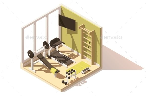 Vector isometric low poly gym icon