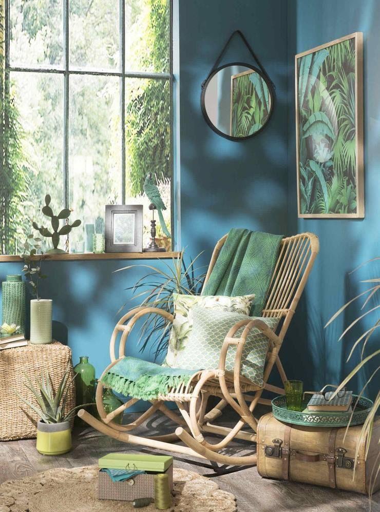 Blau, Grün und viele Pflanzen Wohnen mit natürlichen Materialien - wohnzimmer design grun