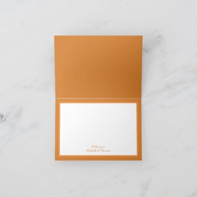Orange  Rust Fall Peony Rose Wedding Thank You