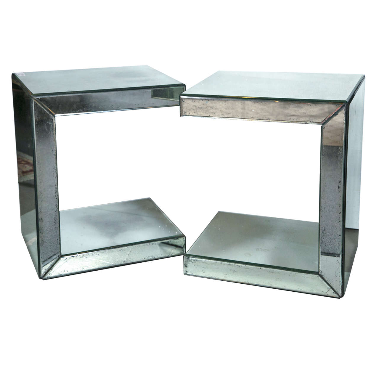 Pair Of Hollywood Regency Style C Shaped Mirrored End Tables | From A  Unique Collection