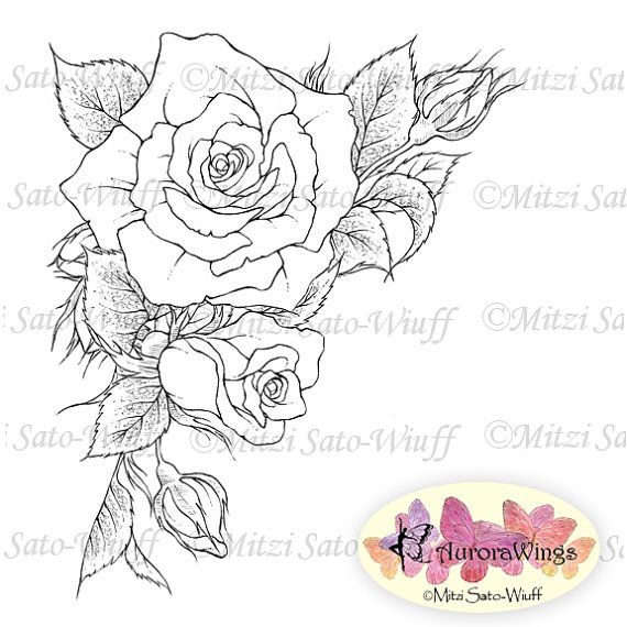 Digital Stamp Roses Corner 2 Instant Download By Aurorawings Floral Design Drawing Flower Line Drawings Digital Stamps