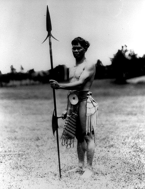 Native Man Holding A Spear Mountain Province Ca 1920
