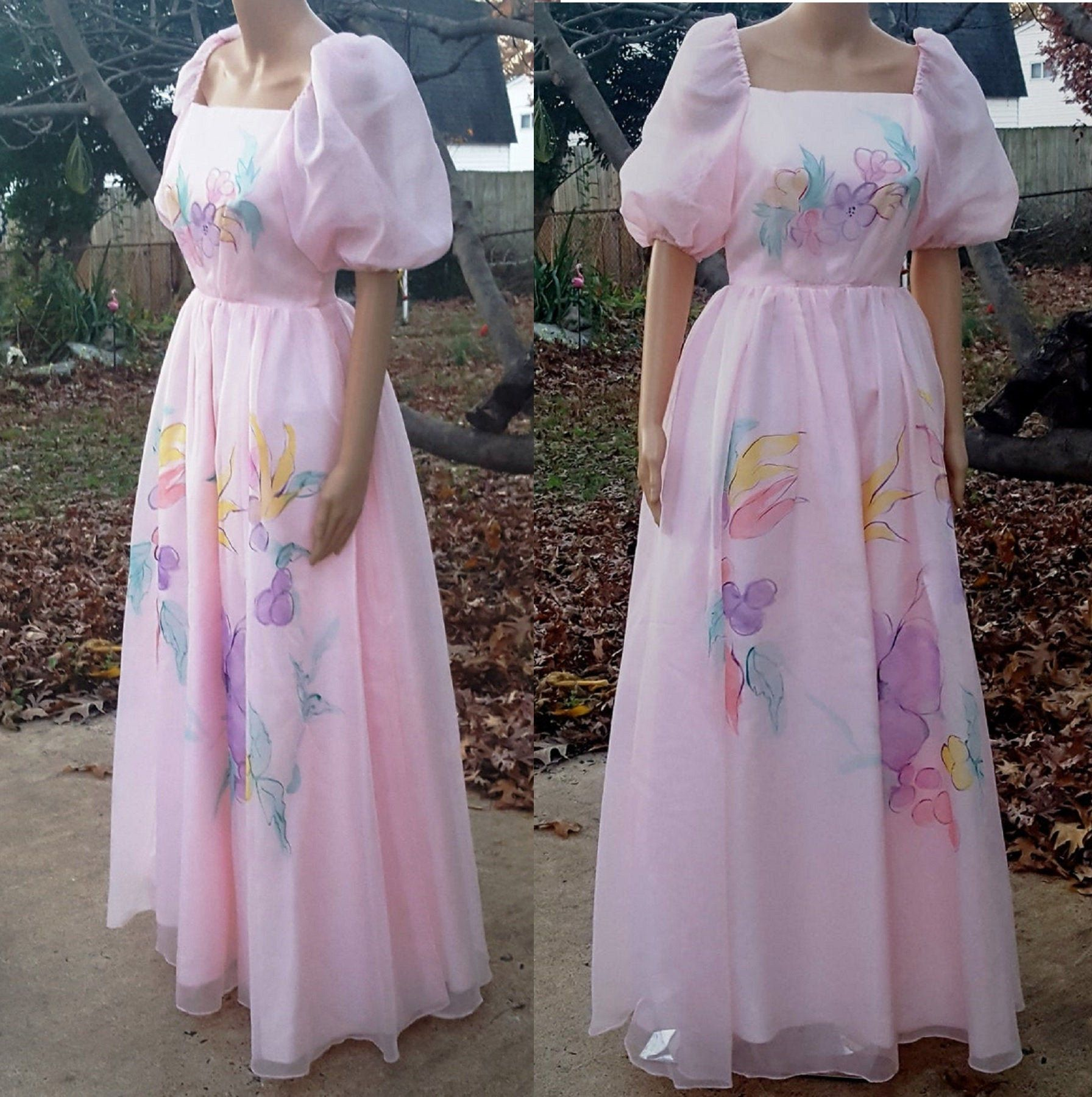 70s Prom Dress Hand Painted Dress Floral Dress Vintage Etsy Vintage Dresses 70s Prom Dress Dresses [ 1800 x 1792 Pixel ]