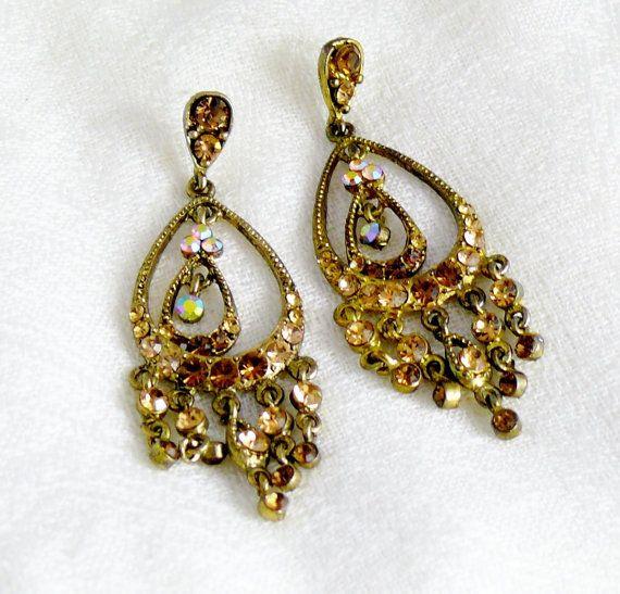 Vintage Bridal Gold Amber Chandelier Earrings By Willowbloom