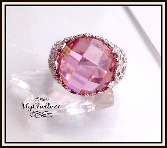 Large Trillion cut Big Pink Dome Ring with side Crystals. Starting at $18