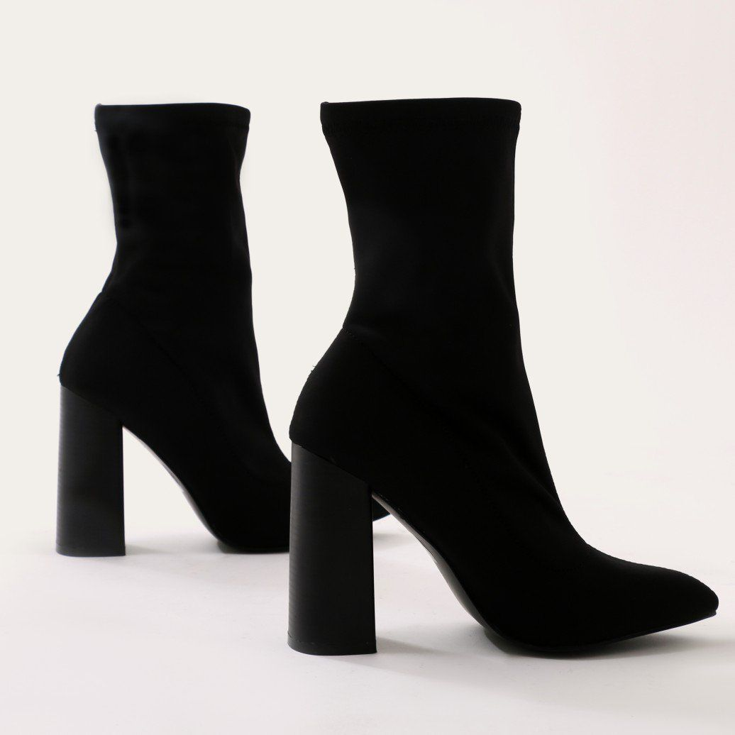 cac44b0b7 Libby Flared Heel Sock Fit Ankle Boots in Black Stretch | Public Desire US