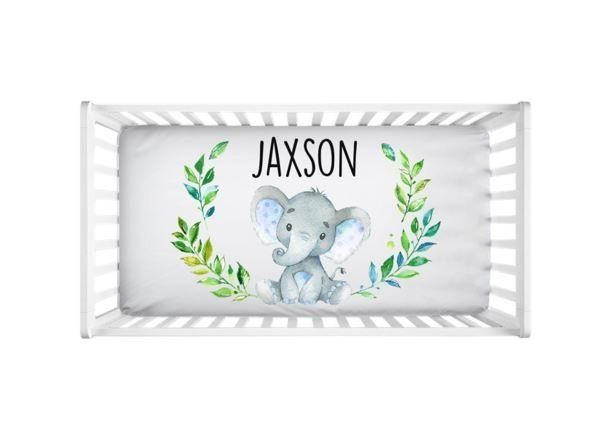 Photo of Personalized Baby Boy Elephant Fitted Crib Sheet Baby Bedding, Infant Nursery Bedding, Baby Shower Gift, Baby Boy Bedding, Baby Gift