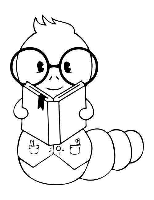 Book Worm Coloring Pages Coloring Page Of A Graduate Worm