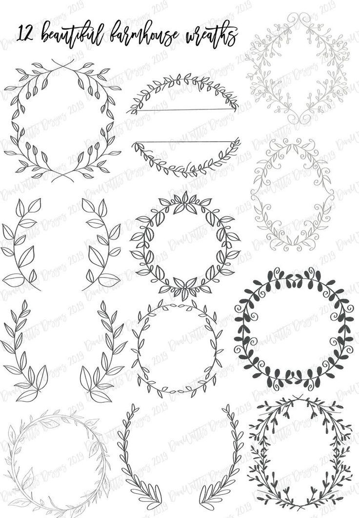 Procreate Farmhouse Set of 12 Wreath Stamps Stamp Brushes Brush with 4 Bonus Stamps Instant Download