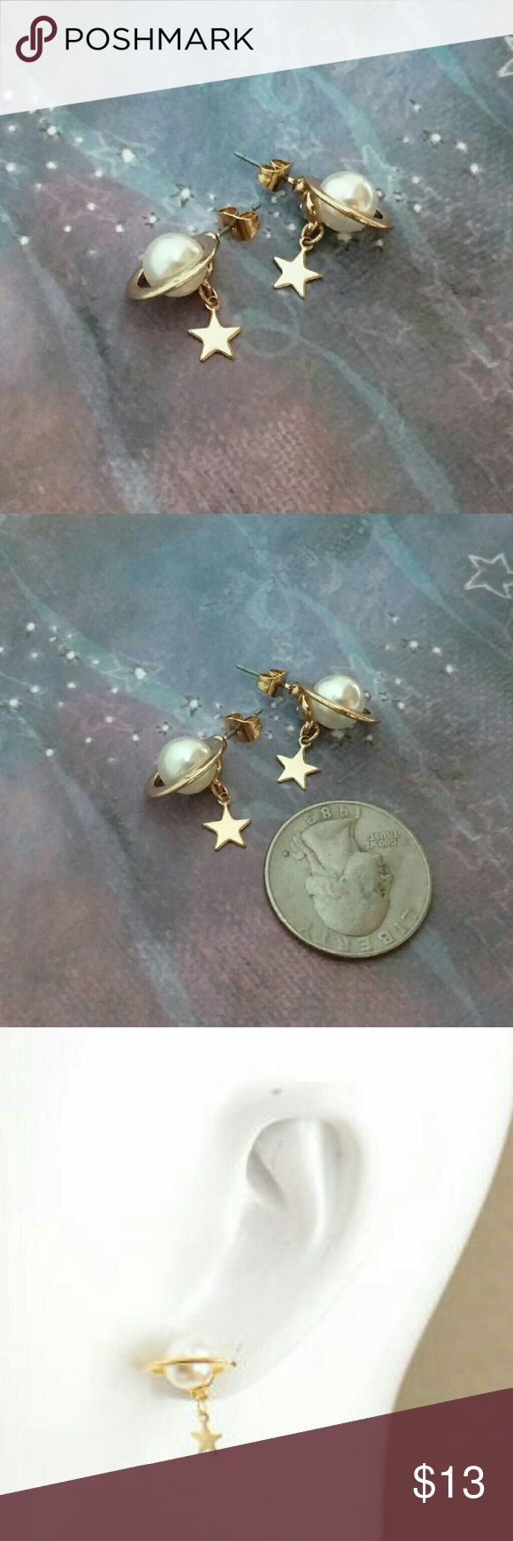 New stud earrings planet star galaxy universe cute New outta this world universe stud earrings Gold tone Cute little planet and a dangling star Have the galaxies just dangling from your ears! Jewelry Earrings