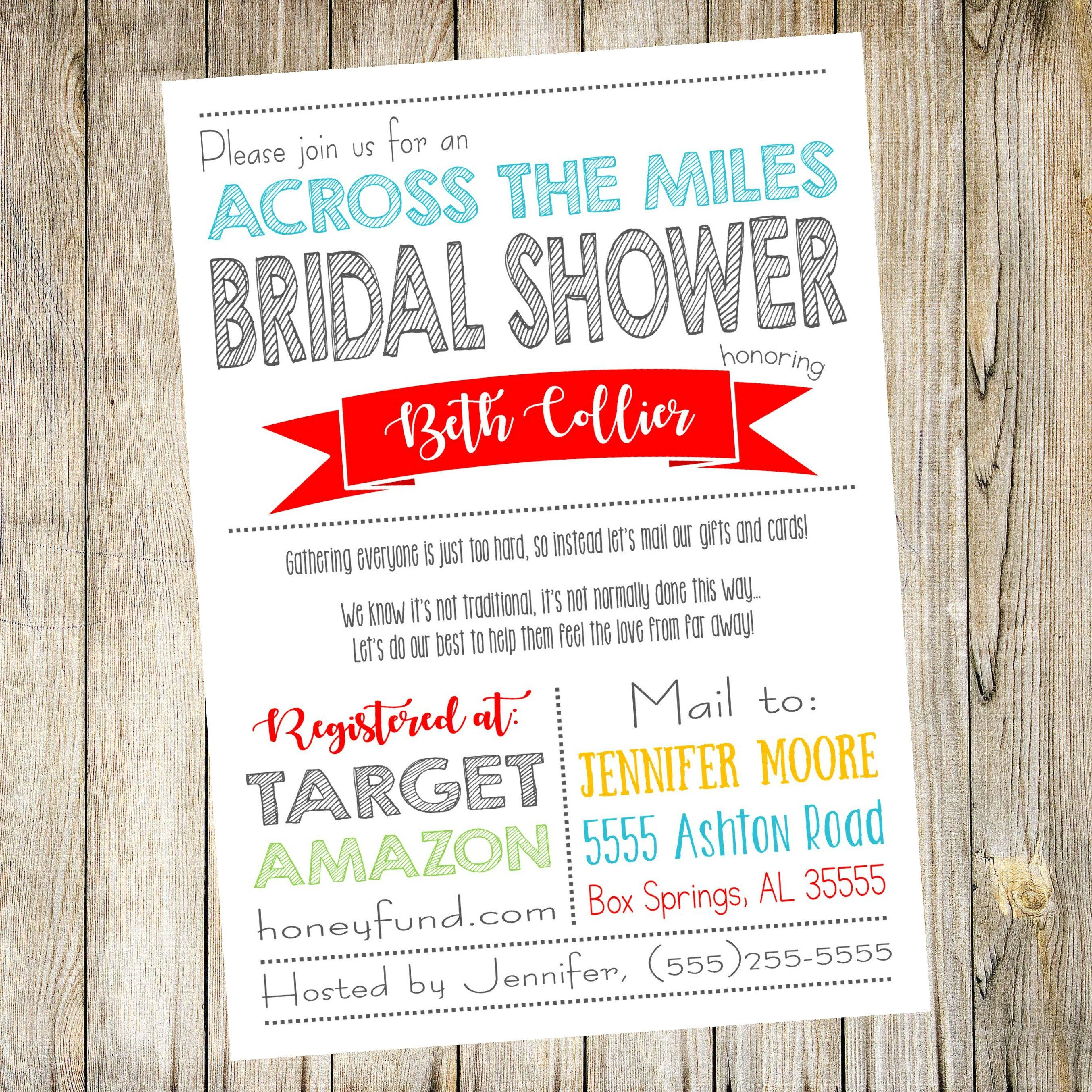 Across The Miles Bridal Shower Invitation Shower By Mail Etsy Long Distance Baby Shower Invitations Honeymoon Shower Online Baby Shower