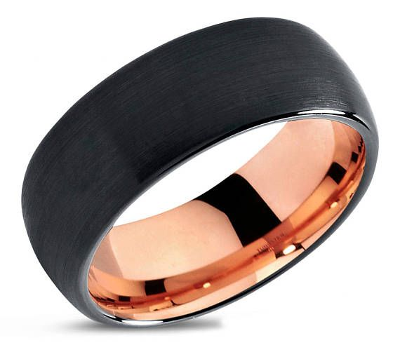 Mens Wedding Band Black Tungsten Ring Rose Gold 18k 10mm Wedding Ring Engagement Ring Promise Ring Rings For Men Rings For Women Rose Gold Mens Wedding Band Mens Wedding Bands Black