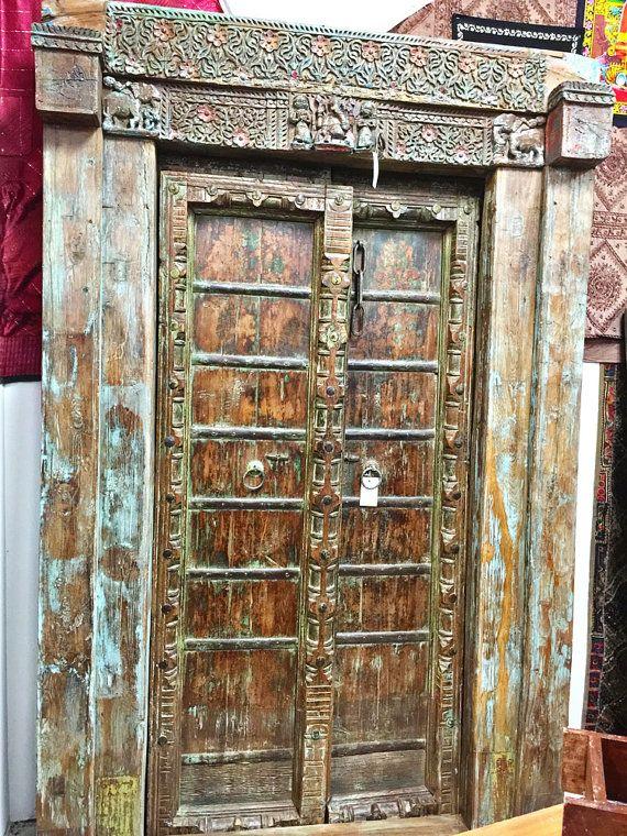 Antique Ganesha Doors Warm Teak Brass Iron Hand by