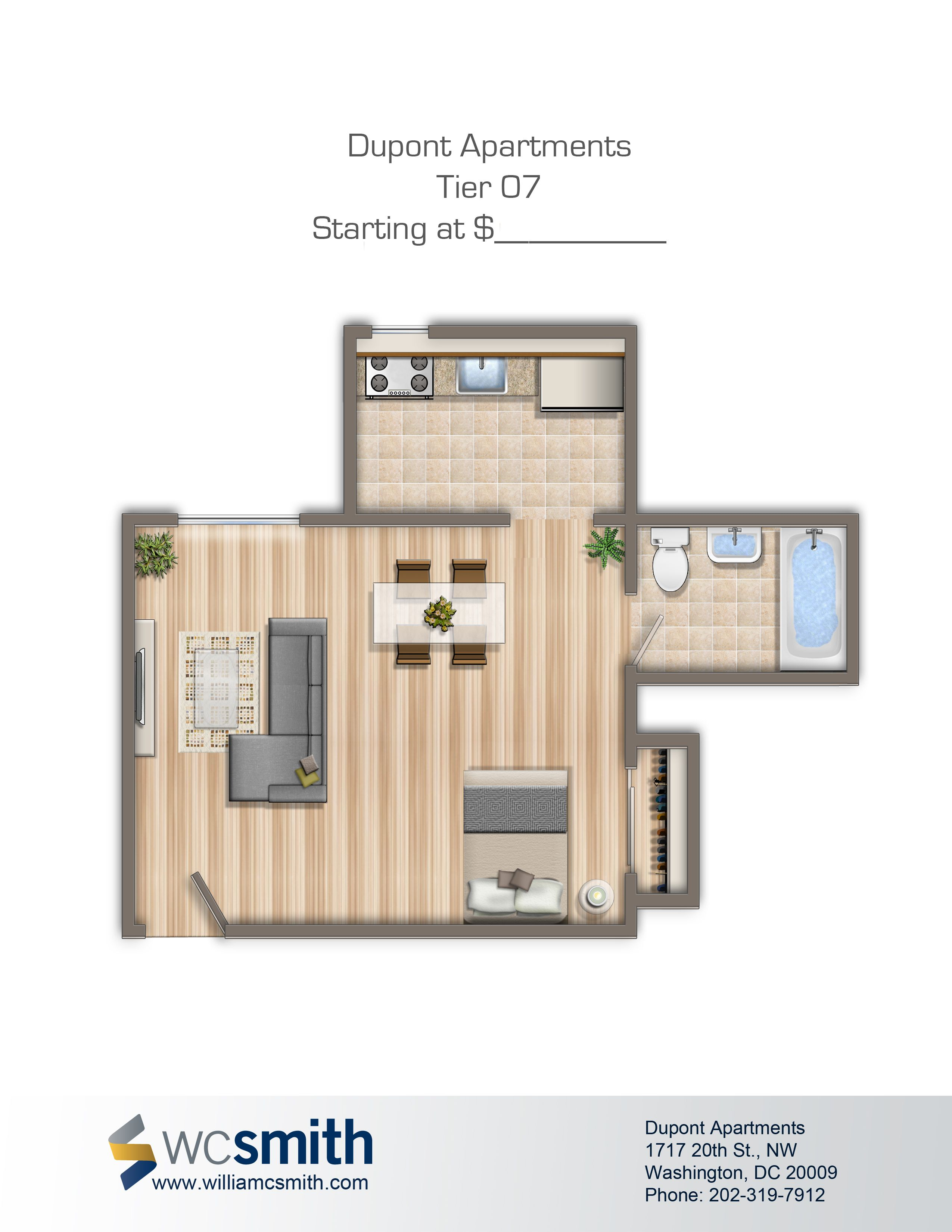 Studio/Efficiency Floor Plan | Dupont Apartments In Northwest Washington DC  | WC Smith Apartments