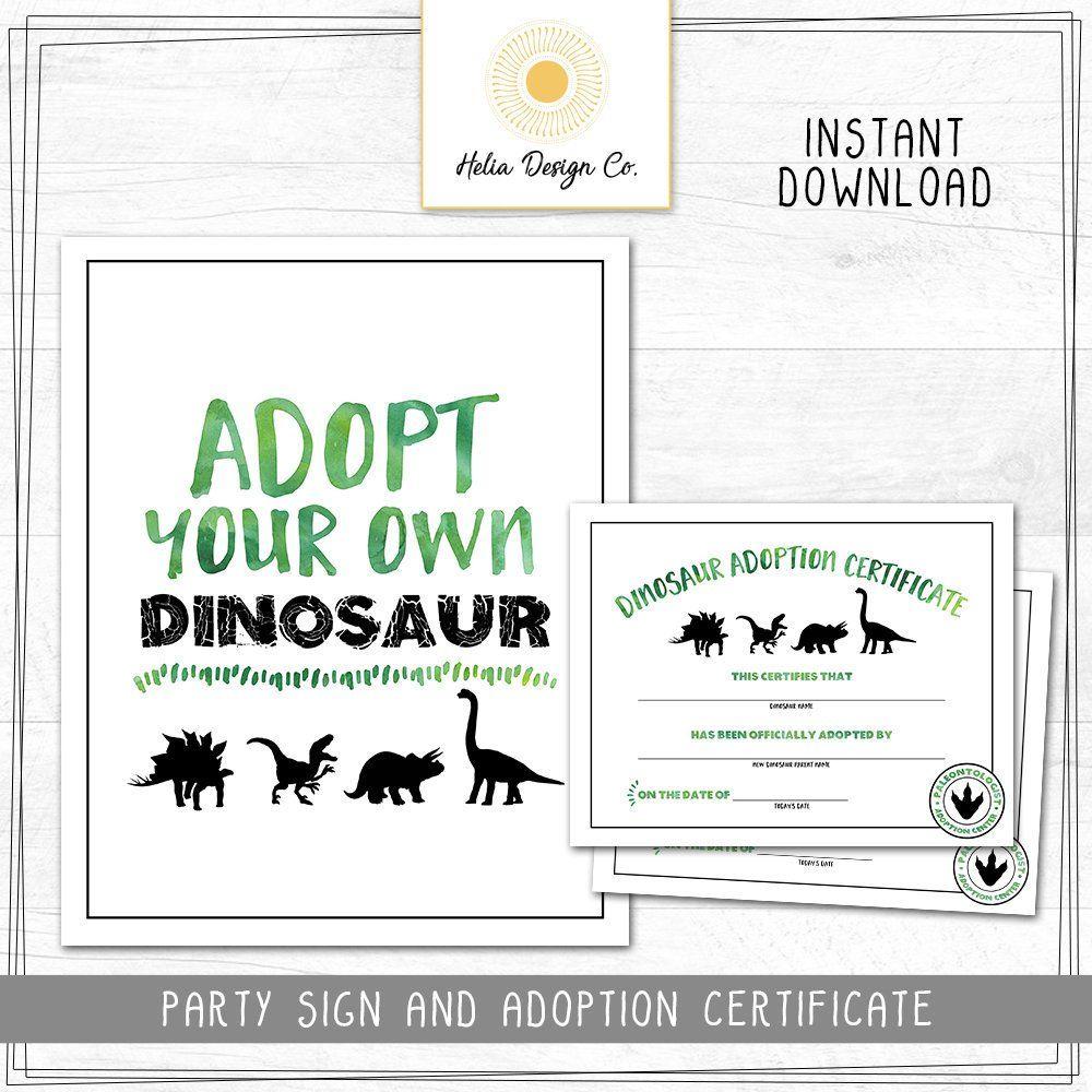 New Dinosaur Birthday Adopt A Dinosaur Sign And Adoption Etsy Adoption Certificate Dinosaur Birthday Dinosaur Birthday Party