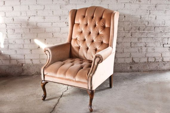 Vintage Tufted Velvet Rose Wingback Chair By Thefeelingofhome